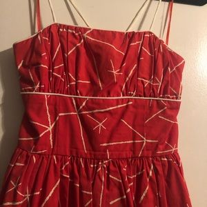 Anthropologie coral colored dress from NEW GIRL